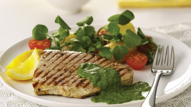 Char-grilled tuna with salsa verde