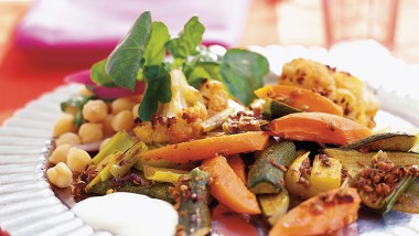 Moroccan-spiced roast vegetables with watercress salad