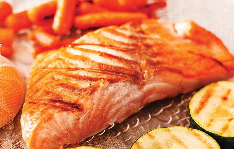 Teriyaki Salmon Fillet With Parsnip Chips And Roast