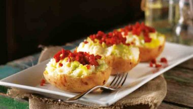 Cheesy jacket potatoes with leek and chorizo
