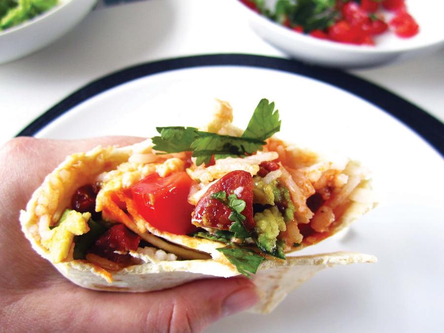 Breakfast Burritos with Avocado, Tomato and Chorizo ...