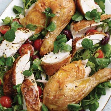 Roast chicken and watercress platter