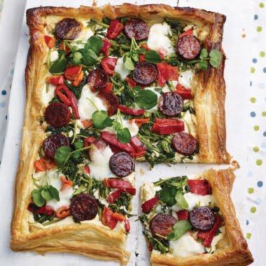 Watercress, chorizo and pepper puff pastry tart