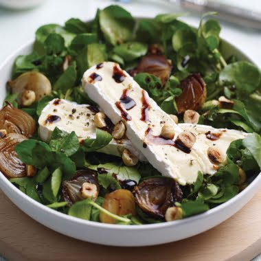 Watercress, brie and balsamic shallots
