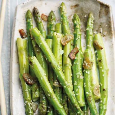 Sesame and garlic roasted asparagus