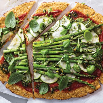 Cauliflower asparagus pizza