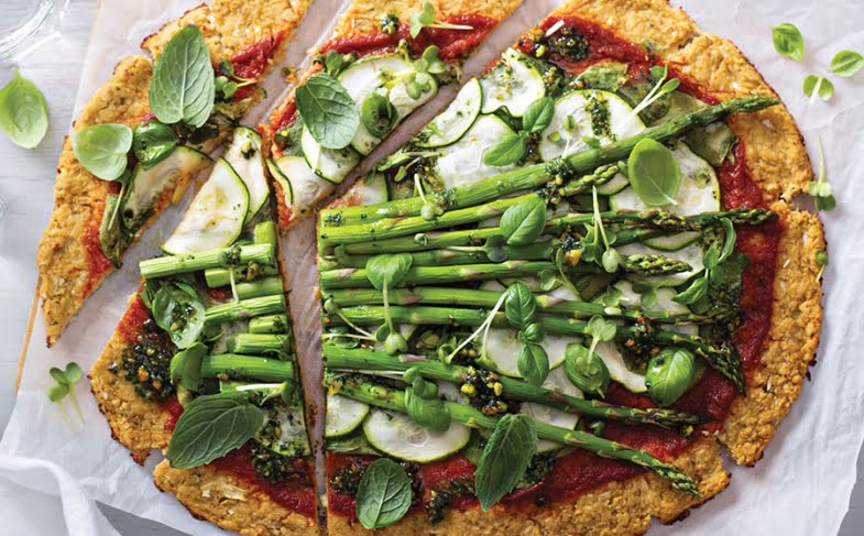 Cauliflower asparagus pizza