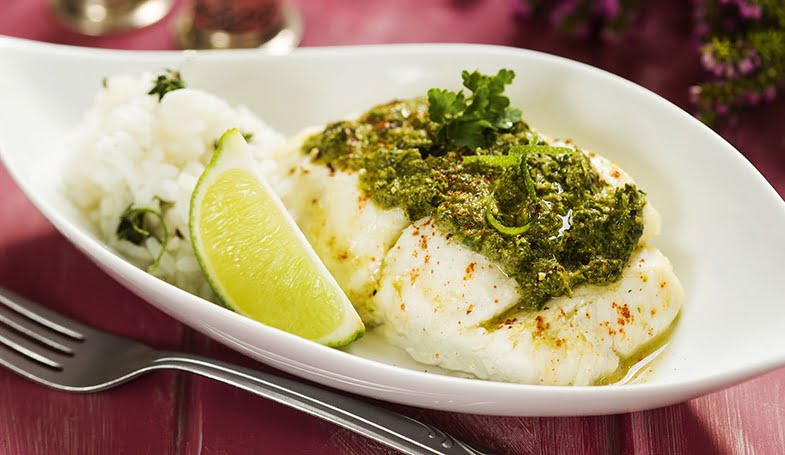 Wild garlic pesto roast cod