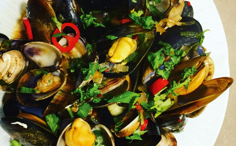 Soy and ginger steamed cockles and mussels