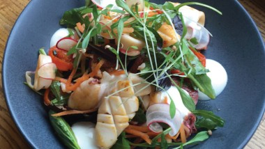Squid with chorizo, lime yoghurt and pickled carrots