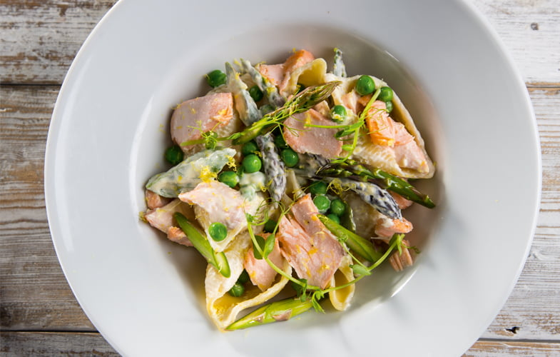 Salmon, pea and asparagus pasta
