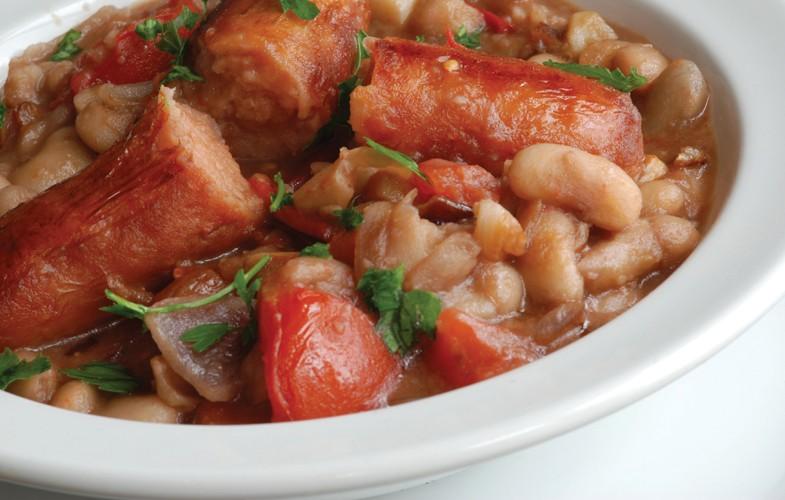 Hooba 'chorizo' sausage with cannellini bean sauce