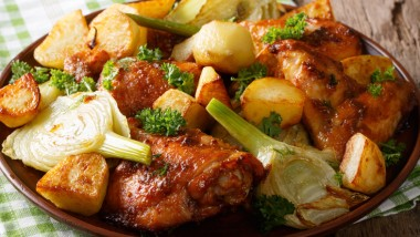 Moroccan chicken with fennel and potatoes