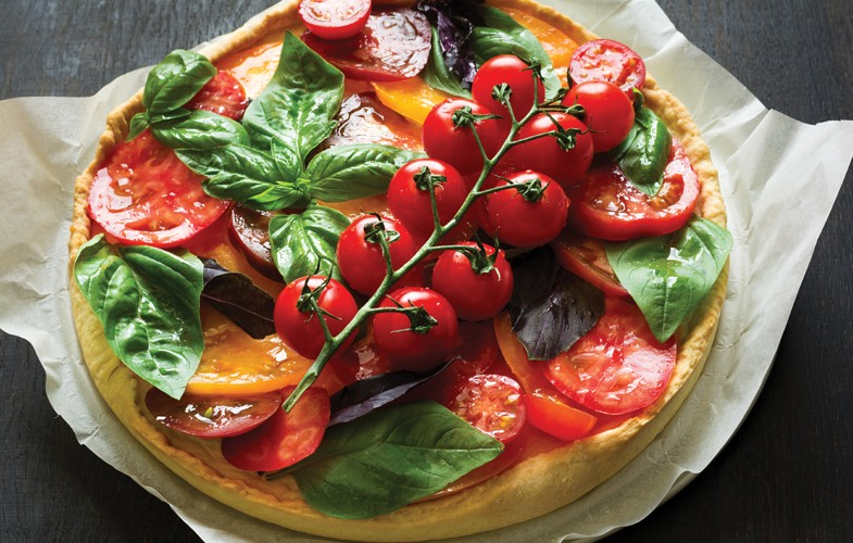 Tomato, basil and ricotta tart
