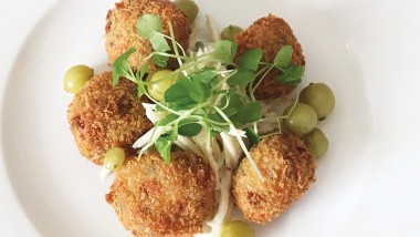 Smoked mackerel fishcake with celeriac remoulade