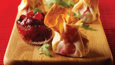 Cranberry and goat's cheese filo parcels