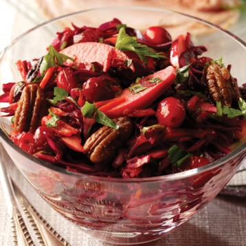 Cranberry and cabbage winter slaw with pecans