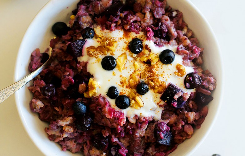 Blueberry & beetroot porridge with chopped walnuts