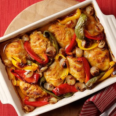 Marinated oven-baked chicken with roasted shallots and peppers