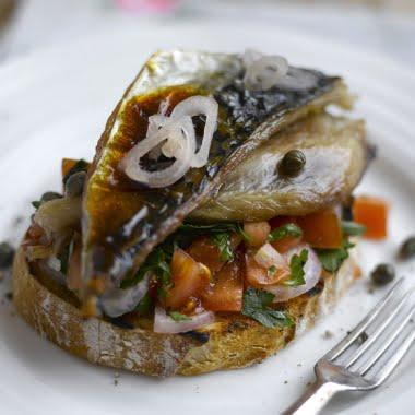 Mackerel with tomato sals on toast