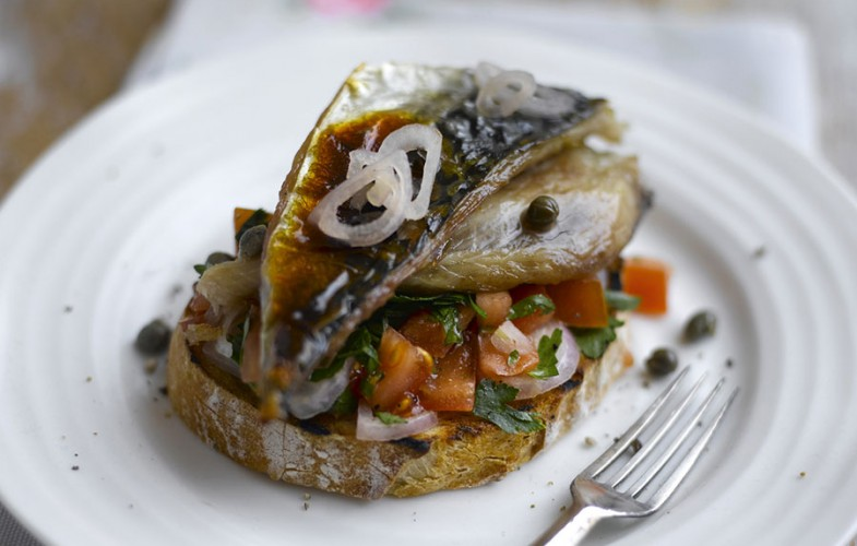 Mackerel with tomato sals on toast