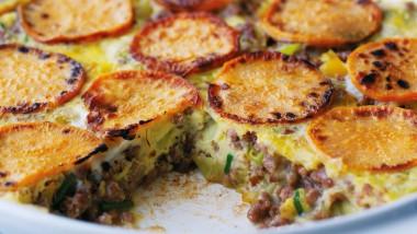 Mince and sweet potato frittata