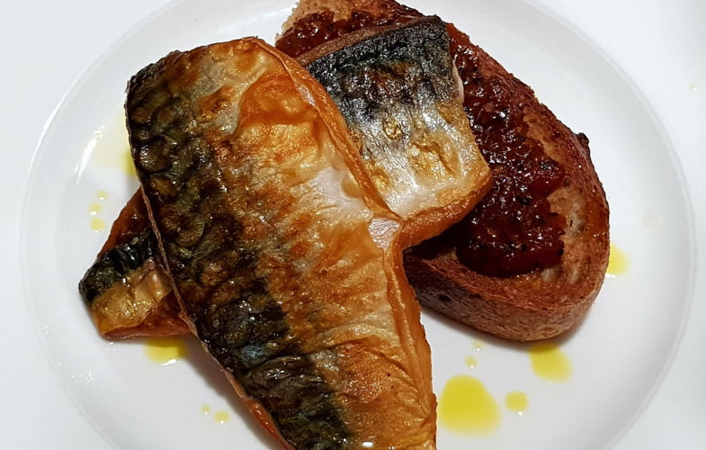 Pan-fried mackerel, spiced tomato chutney, crusty sourdough