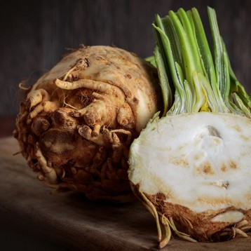 Baked whole celeriac with truffle oil