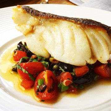 Roast cod with sauce vierge