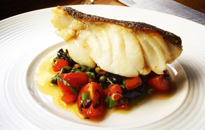 Roast cod with sauce vierge