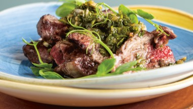 Steak ribeye with chimichurri