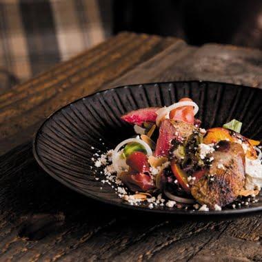 Roast grouse, peach and feta salad