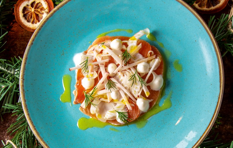 Hadrian's Wall gin-cured salmon, apple & fennel salad, dill yoghurt