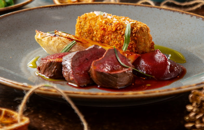 Northumbrian venison loin & scrumpet, caramelised chicory, beetroot ketchup