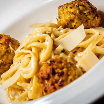 Ella's turkey meatballs with linguine carbonara
