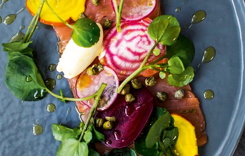 Smoked salmon carpaccio with watercress, beetroot and horseradish