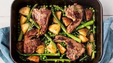 British asparagus and lamb chop tray bake