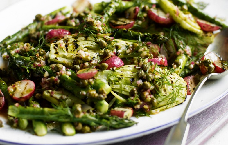 Grilled radish, fennel and asparagus salad with caper dressing
