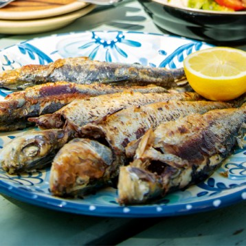 Sardines with panzanella (bread salad)