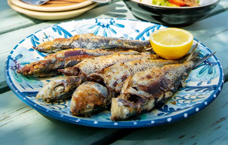 Sardines with panzanella (bread salad)