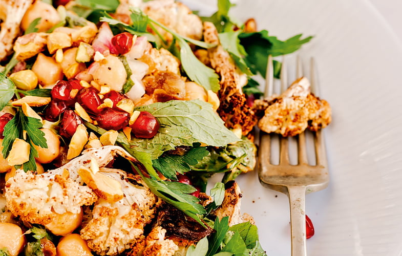 Cauliflower, pomegranate and pistachio salad