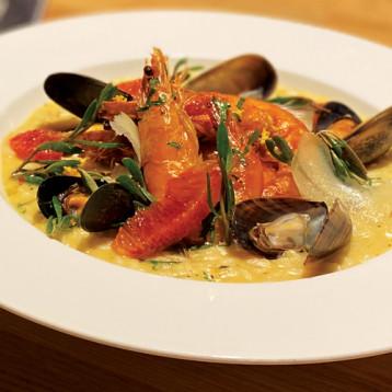 Shellfish, blood orange and sea herb risotto