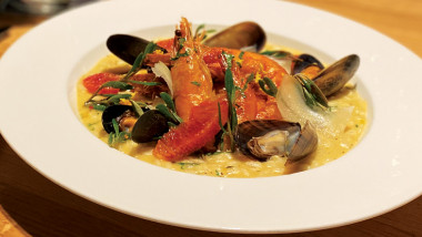 Shellfish, blood orange and sea herb risotto