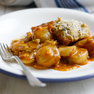 Butternut squash and butterbean casserole with herbed dumplings