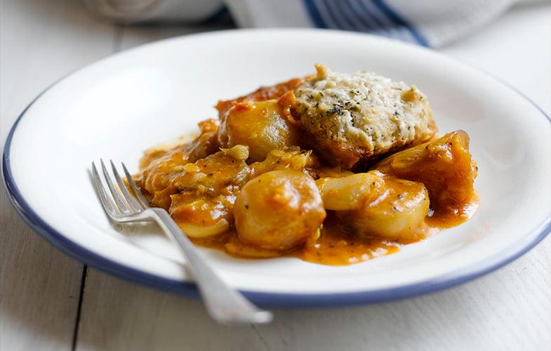 Butternut squash and butterbean casserole with herbed dumplings