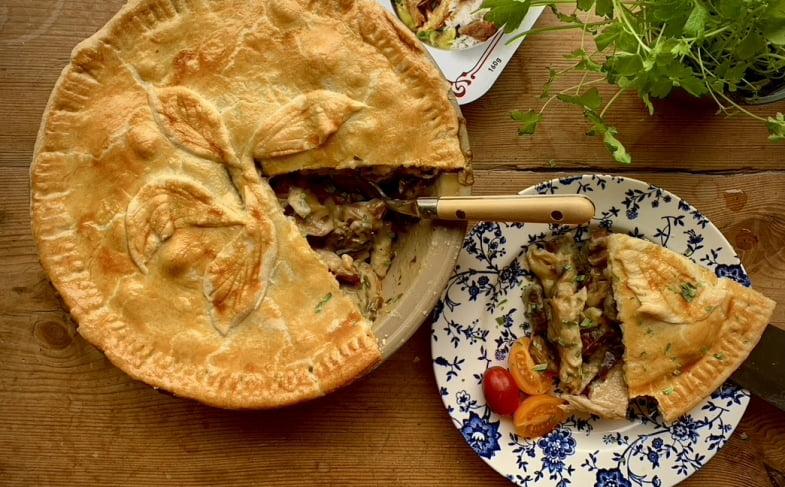 Vegan 'chicken', 'bacon', mushroom and tarragon pie