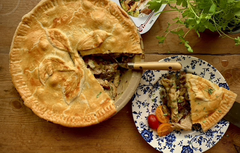 Vegan 'chicken', 'bacon', mushroom and tarragon pie