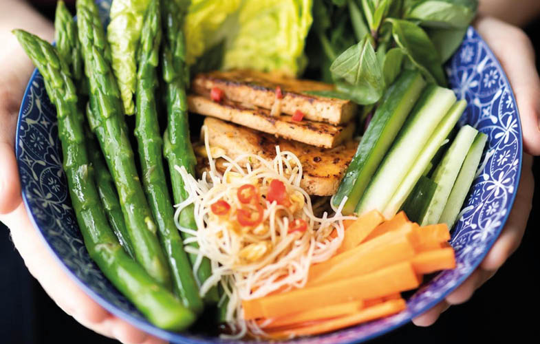 British asparagus noodle bowl