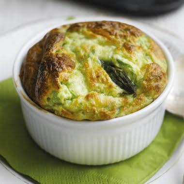 British asparagus, pea & goats' cheese soufflés