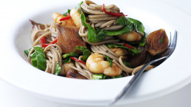 Prawn buckwheat noodles with soy and ginger shallots
